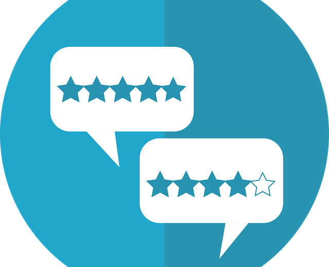 round blue and turquoise icon with white call out bubble and five star icon
